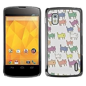 Be Good Phone Accessory // Dura Cáscara cubierta Protectora Caso Carcasa Funda de Protección para LG Google Nexus 4 E960 // Pastel Color Pattern Animal Cute