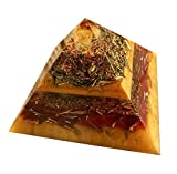 Orgone Pyramid with Natural Citrine Point - Prosperiety & Abundance- 3.8 Inch Square Base, 2.25 Inches High - Heavy Dense Powerful Orgonite