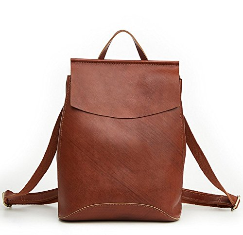 Women Genuine Leather Backpack Satchel Schoolbag Shoulder Bag Laptop Briefcase Messenger Bag Retro Style (Brown 4)