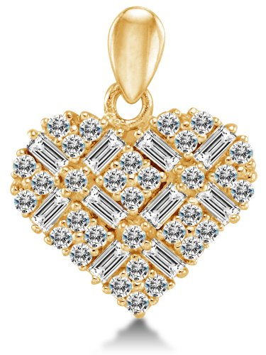 (14k Yellow Gold Love Heart Shape Ladies Pendant Charm with Highest Quality Round and Baguette Round Shape Brilliant Cut CZ Cubic Zirconia (Height = 1/2