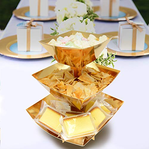 (3-Tier Gold Dissert Display Dessert Stand Candy Snack Cupcake Stand Party Supplies Cake Stand Bowl Stand, Tower Display for)