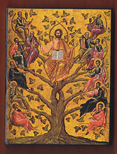 (Eastern Orthodox icon of Jesus Christ as the True Vine,16th century Byzantine icon in the Byzantine Museum of Athens. )