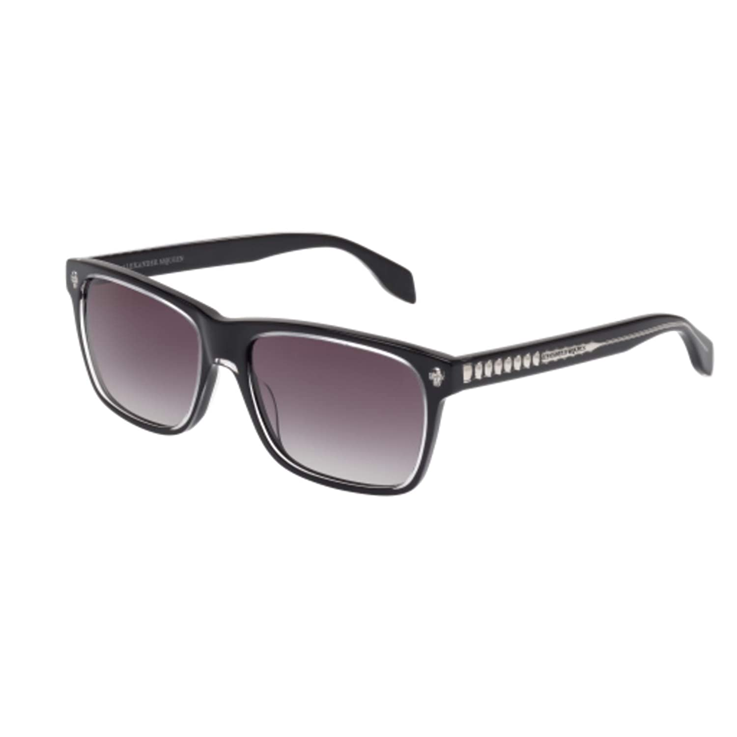 a279eb7800f Alexander McQueen AM0025S 001 Black Grey AM0025S Rectangle Sunglasses Lens  Cate at Amazon Men s Clothing store