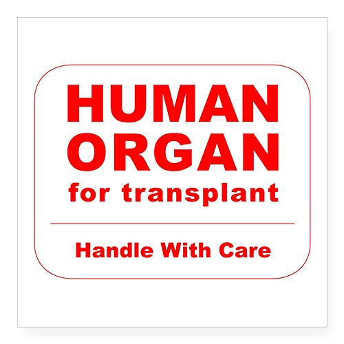 CafePress Human Organ for Transplant Square Sticker 3 X 3 Square Bumper Sticker Car Decal, 3