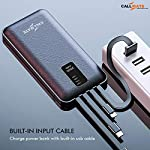 CALLMATE Portable Charger, 20000 mAH Li-Polymer Digital Display Power Bank with inbuilt 4 in 1 Cable USB Input Port…