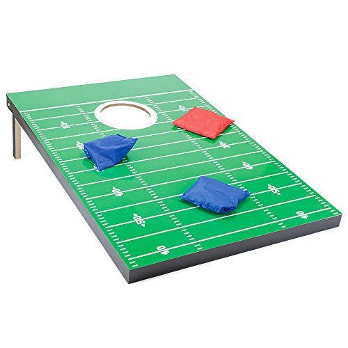 Complete Football Style Cornhole Set with Heavy Duty Bag with Bonus Stainless Steel Whistle! by TMG