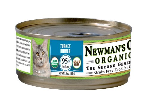 Newman's Own Organics Turkey Grain-Free Food for Cats, 5.5-Ounce (Pack of 24), My Pet Supplies