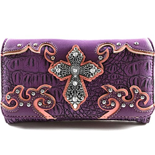 (Justin West Western Tooled Croc Animal Faux Leather Silver Rhinestone Cross Studded Wristlet Trifold Wallet Attachable Long Strap (Purple))