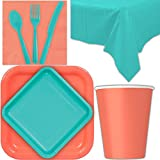 Disposable Party Supplies for 28 Guests - Coral and Caribbean Teal - Square Dinner Plates, Square Dessert Plates, Cups, Lunch Napkins, Cutlery, and Tablecloths: Premium Quality Tableware Set