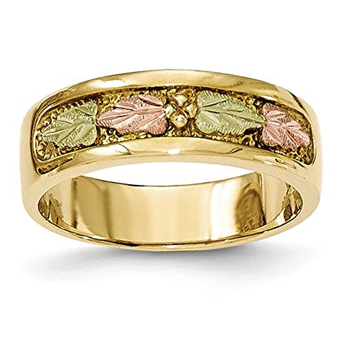 10K Tri-Color Gold Black Hills Gold Wedding Band Ring ()