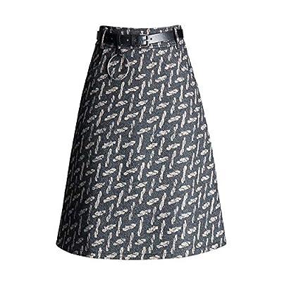 Wincolor Women's Winter High Waisted Wool Blend Floral Printed Midi A-line Tartan Skirt Knee Length