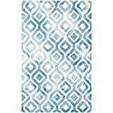 Safavieh Dip Dye Collection DDY679A Handmade Geometric Watercolor Ivory and Blue Wool Area Rug (2′ x 3′) Review