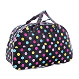 SODIAL(R) Fashion Waterproof Oxford Women bag Colorful Dots with Black Bottom Travel Bag Large Hand Canvas Luggage Bags
