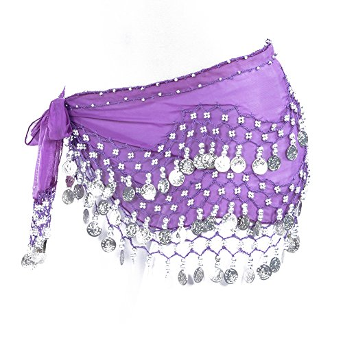 Lilyy Chiffon Dangling Silver Coins Belly Dance Hip Skirt Scarf Wrap Belt (Dark Purple) ()