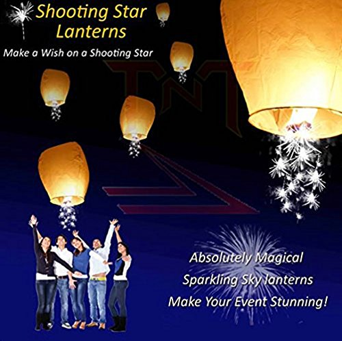 10pc White Shooting Star Sky Lanterns, The Original from TnT Sales (Sale For Large Lanterns)