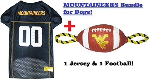 College West Virginia Mountaineers PET FOOTBALL TOY & PET JERSEY Bundle, Medium. ▬ Mountaineers Dog Jersey & Football Rope Dog Toy