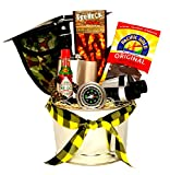 The Man Can Gift Set - Gift Basket for Men, Binoculars with Carry Bag, Stainless Steel Hip Flask, Steel Folding Pickaxe Shovel, Stainless Steel Compass, Survival Paracord Bracelet, and More