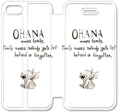 Flip étui en cuir PU Stand pour Coque iPhone 5 5S, bricolage 5 5S Cas de téléphone portable Disney Lilo et Stitch 4 X1C3CW Effacer Coque iPhone étuis en cuir dur