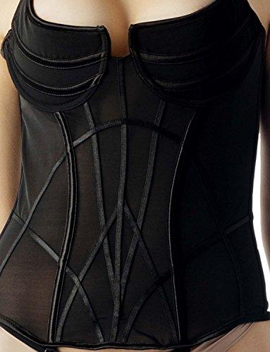 iB-iP Mujer Tie Halter Top Liga Vintage Cinturón Bustier Pura Corsé Overbust Negro