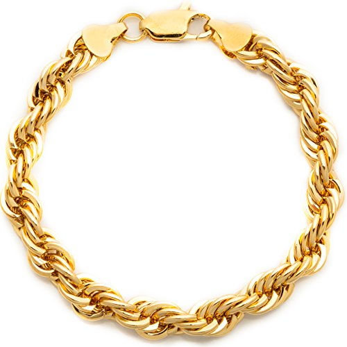 (Lifetime Jewelry Rope Bracelet 7MM Diamond Cut 24K Gold Plated Fashion Jewelry 9 Inches )