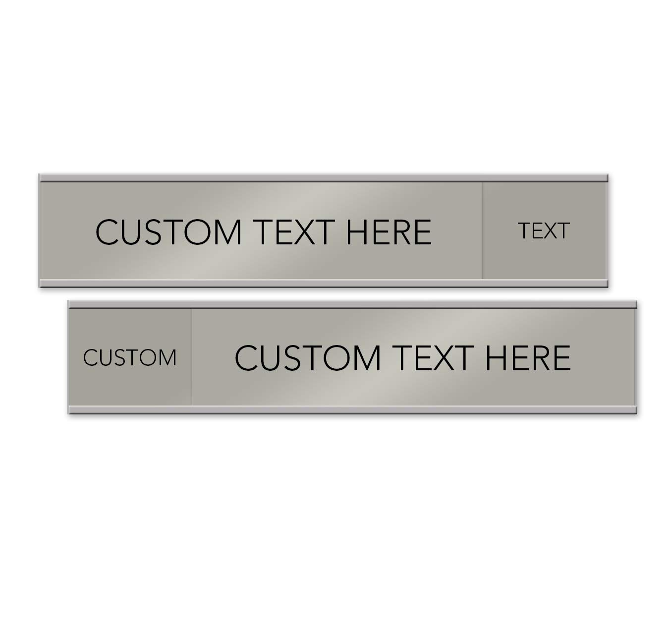 Customizable Quality Satin-Aluminum Slider Nameplates and Signs - 10 x 2 (Silver)