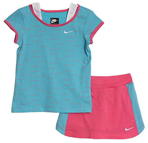 Nike Little Girls' 2 Piece Blue Pink Athletic Tennis Scooter Set (6X, Photo Blue/Pink)
