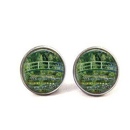 Japanese Bridge by Claude Monet - Monet Cufflinks - Classic Art Jewelry - Impressionism Art Jewelry - French Impressionist ()