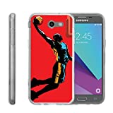 Samsung Galaxy J3 Emerge | J3 Prime | J3 Eclipse | Luna Pro[FLEX FORCE] Clear Cover Flexible SLim Fit TPU Case Cover Speciality Graphic Pattern by Miniturtle - Red Basketball