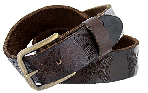 Full Grain Tooled Leather Butterfly Embossed Casual Belt 1-1/2