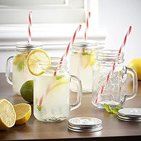 Mason Jar Mugs with Handle, SILVER Lid and Plastic Straws. 16 Oz. Each. Old Fashion Drinking Glasses – Pack of 4. By…