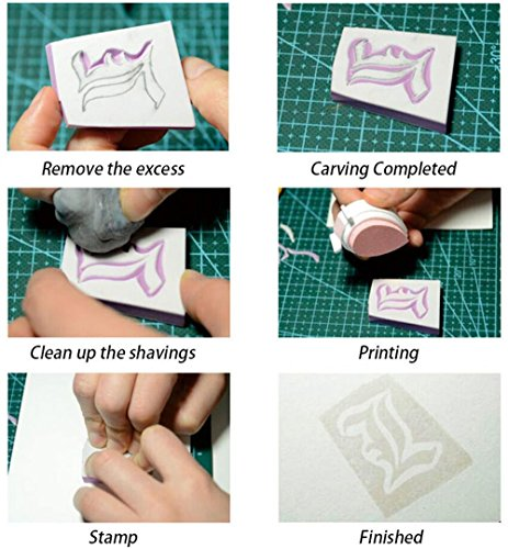 e-Craft Carving Rubber Block Stamps Printing - Like Rubber Material - 5 Pieces - White 9 Styles - 1.9×1.9×0.39 inches by e-Craft (Image #3)