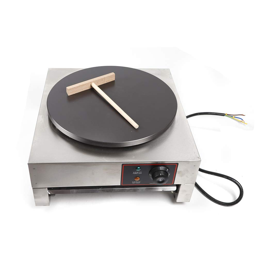 Electric Crepe Maker, 16'' Hot Plate Commercial Nonstick Electric Pancakes Maker Griddle Crepe Pan with Wooden Spatula for Roti, Tortilla, Eggs 2800W by WANLECY