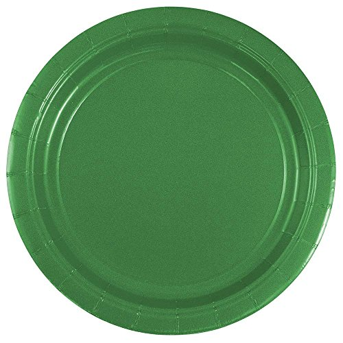 JAM PAPER Round Paper Party Plates - Small - 7 Inch - Green - 50/pack