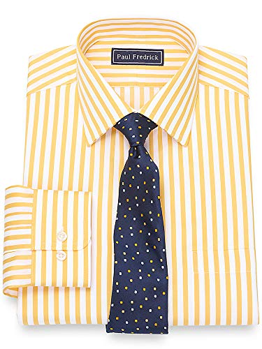 Paul Fredrick Men's Cotton Satin Stripe Button Cuff Dress Shirt Yellow 18.5/37 (Satin Stripe Dress Shirt)