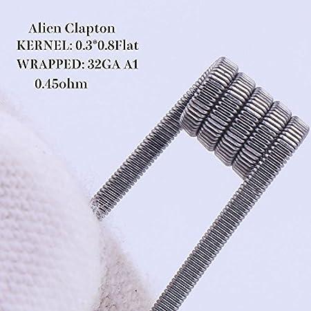 torsad/és Tiger fils de r/ésistance pr/é-enroul/és pour RDA Alien 0.45ohm Hive Alien Mix Quad Lot de 100/bobines Clapton Fused RUIYITECH