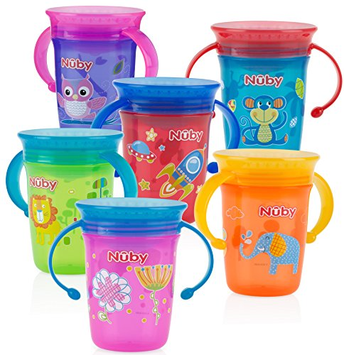 (Nuby 1pk No Spill 2-Handle 360 Degree Printed Wonder Cup - Colors May Vary)