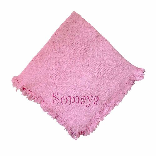 Somaya Girl Embroidered Embroidered Cotton Woven Pink Baby Blanket