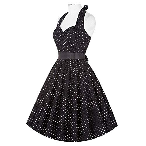 Robert Reyna Elegant Women's Polka Dot Dress Women Vintage Swing Halter 50s 60s Rockabilly Prom Dresses,X-Large,561 ()