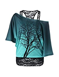 iBaste Women Casual Lace Bat Sleeves Off Shoulder 2 in 1 T-Shirts