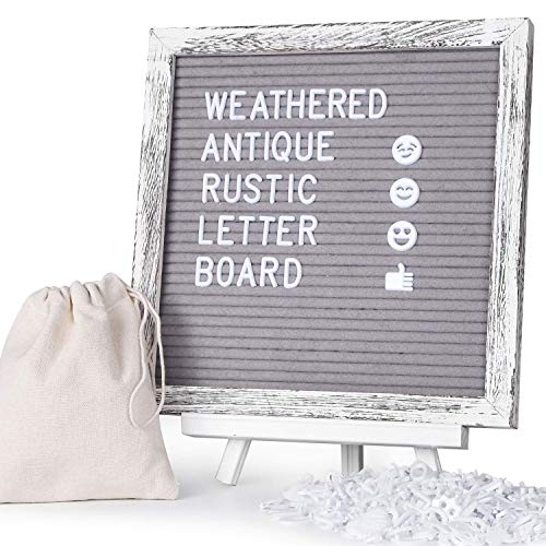 Tukuos Felt Letter Board with Rustic Stand, 752 Black & Gold & White Letters, Months & Days Cursive Words with 10x10 Inch Weathered Antique Frame, Metal Wall Hook, 1 Letters Pouch