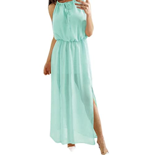86e78b6b1c1a Solid Chiffon Dresses-Summer-Bohemian Long Maxi Dress Women Sleeveless  Casual Loose Split Party