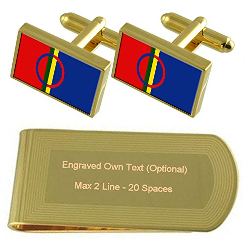 tone Gold Clip Money Set Engraved Cufflinks Sami Flag Gift 5EXqTT