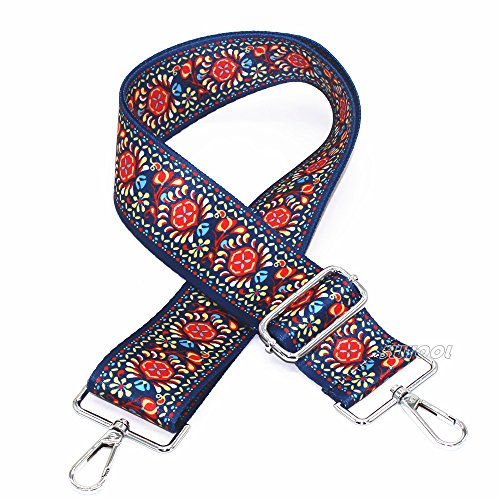 Selling Wonderful 2'' Wide 28''-50'' Adjustable Length Handbag Purse Strap Guitar Style Multicolor Canvas Replacement Strap Crossbody Strap, With 2Pcs Silver Metal Buckles (Style9) by SWTool