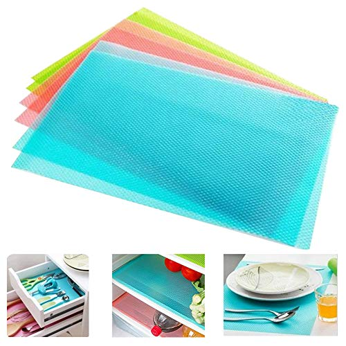 seaped Refrigerator Mats,Can Be Cut Refrigerator Pads EVA Shelf Liners Refrigerator Liners Washable Fridge Mats Drawer Table Placemats/Size 17.69x11.4-Set of 4,Blue
