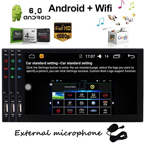 EinCar Android 6.0 7 Inch Quad Core Head Unit Double 2 Din Car Stereo Supports GPS Navigation Player In Dash Car WiFi Radio Bluetooth HD Capacitive Touch screen Video Player
