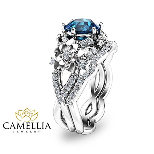 London Blue Topaz Bridal Set in 14K White Gold Floral Design Wedding Ring Set Unique Custom Rings with Natural Side Diamonds Art Nouveau Styled Engagement Set Nature Inspired Alternative Rings