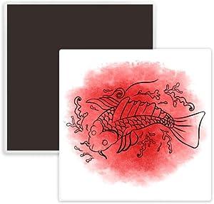 Japan Culture Goldfish Illustration Square Ceramics Fridge Magnet Keepsake Memento