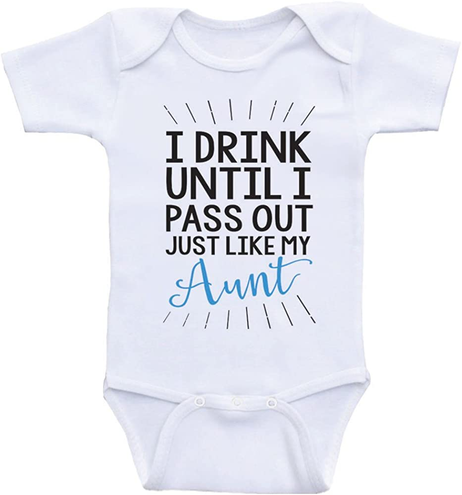 Heart Co Designs Aunt Baby Clothes Drink Until I Pass Out Just Like My Aunt Funny Onesies
