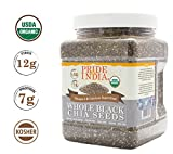 Pride Of India – Organic Black Chia Seeds – Omega-3 & Fiber Superfood, 1.5 Pound (24oz) Jar For Sale