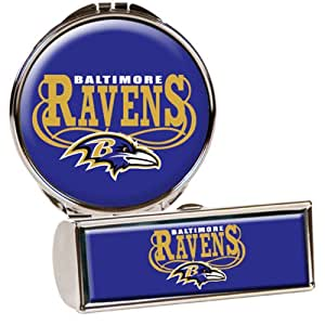 NFL Baltimore Ravens Lipstick Case and Compact Mirror Set, Silver